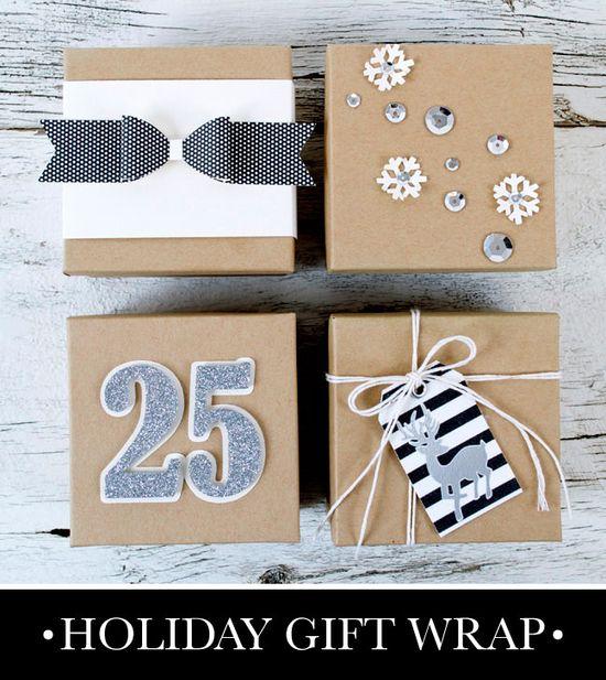 gift wrap ideas: black, white + kraft