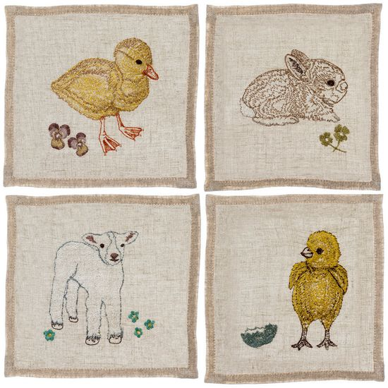 baby animals set cocktail napkins