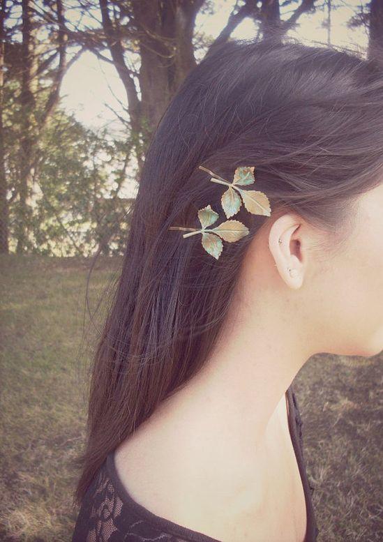 Green Leaf Bobby Pins Bridal Hair Pins Bridal by dreamsbythesea, $40.00