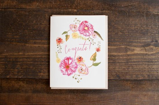 Congrats card with bright and beautiful flowers