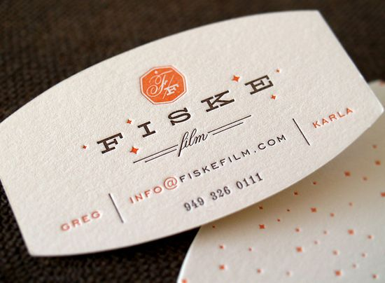 Fiske Film : Cinematography #orange #business #card #white #letterpress