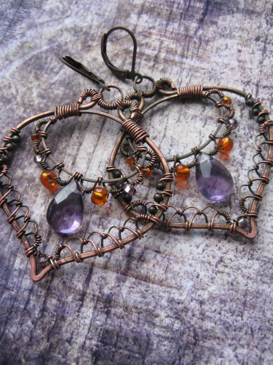Boho Filigree Lace Copper Earrings - Eastern Leaf Earrings- Purple Orange  - Ornate Bohemian Summer Statement Earrings. $52.00, via Etsy.