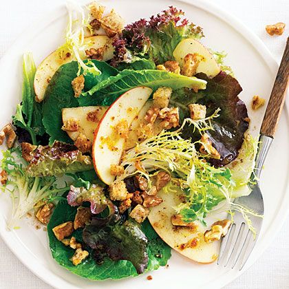 Fall Green Salad with Apples, Nuts, and Pain d'Epice Dressing by sunset.com via myrecipes: The spices in this salad are like those in French gingerbread, or pain d'épice! #Salad #Apple #Pain_dEpice #sunset_com #myrecipes