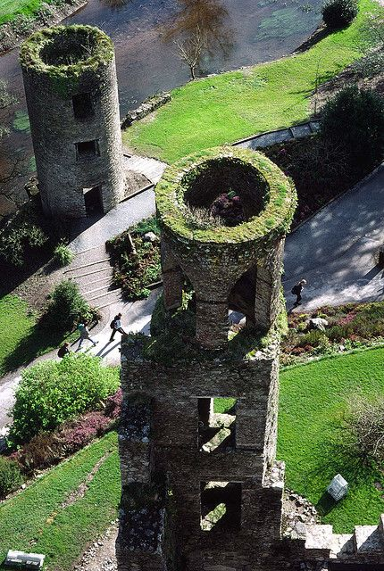 View of the two towers, from the top of Blaney Castle. Co Cork, Ireland