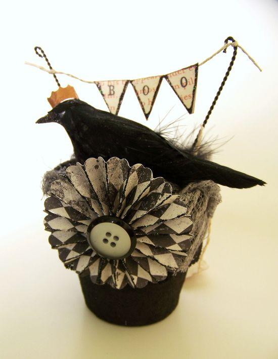 Handmade Halloween Vintage Halloween Decoration Vintage Crow Halloween Crow Vintage Inspired Mixed Media. $18.00, via Etsy.