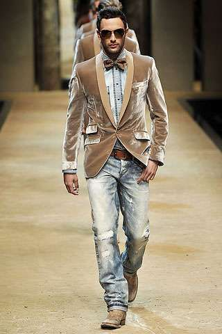 Crushed velvet, bowties and denim.