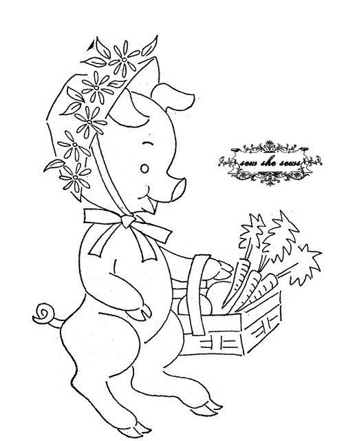 vintage market piggy embroidery pattern