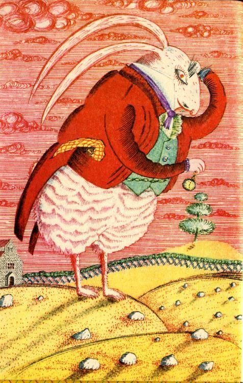 Vintage russian Alice in wonderland illustration.