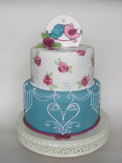 Birds in love cake by bubolinkata, via Flickr