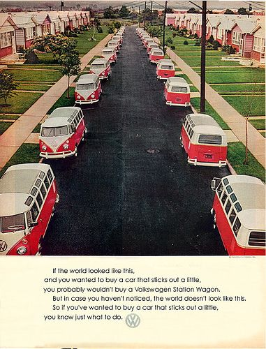 "1964 Volkswagen Bus Advertising ""If the World Looked Like This."" by luxuryluke, via Flickr. #advertising #vintage"