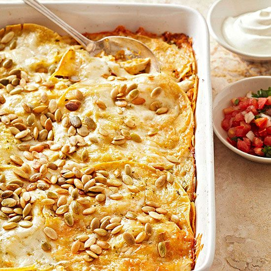 Try something new for dinner tonight, like this Pumpkin Tortilla Casserole with Chicken. More savory pumpkin recipes: www.bhg.com/...