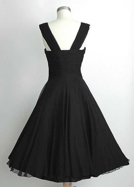 HEMLOCK VINTAGE CLOTHING : Saks Fifth Avenue Ruched Chiffon 1950's Dress As stunning from the back as it is from the front!!