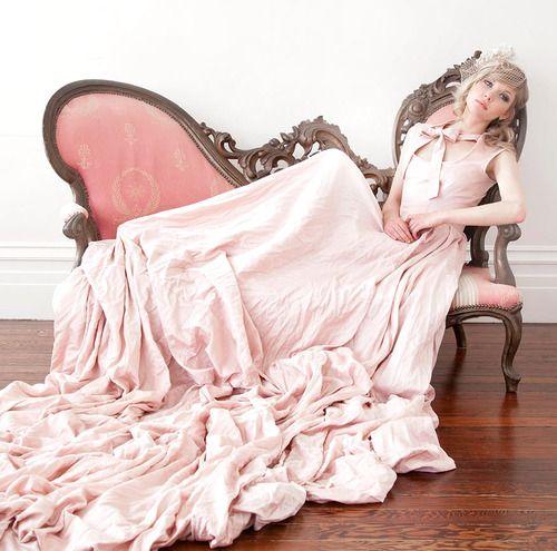 Blush pink wedding dress. #pink #bridal #fashion