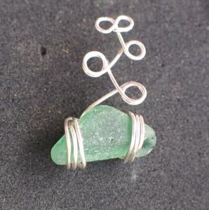 wire and sea glass jewelry