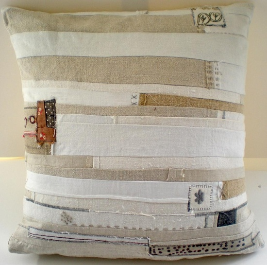 Madly in love with this scrappy styled cushion by mudrabbit.co.uk
