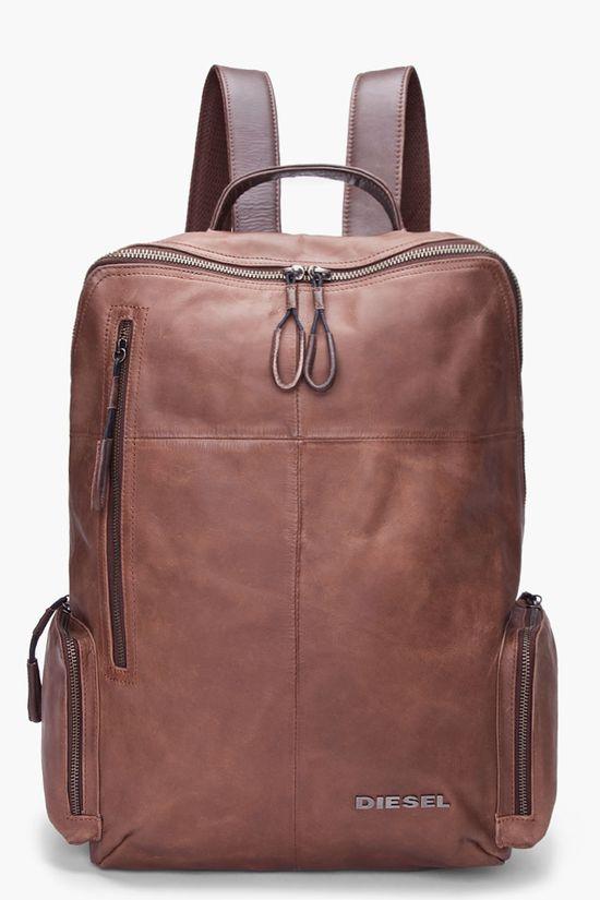 DIESEL Brown Leather Forward Backpack