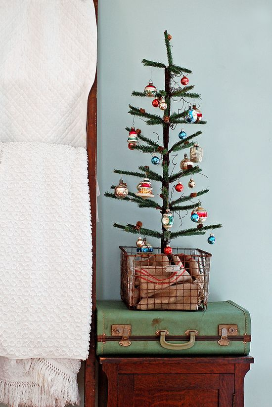 Feather tree and vintage ornaments...Love Mine