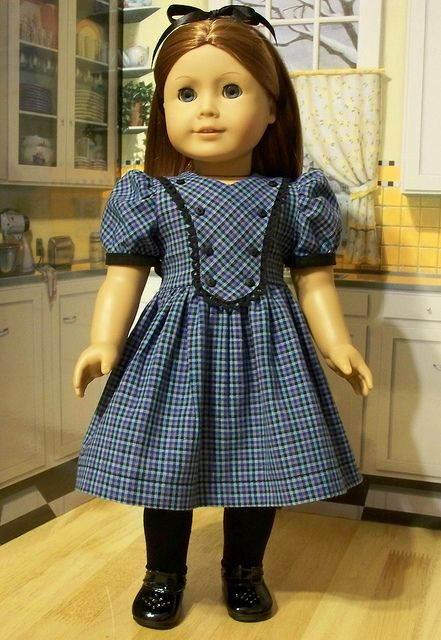 Empress' Secret Closet ~ Years ago, we bought this 1940's Blue Plaid Bibbed Frock, recently released as a pattern proof, via eBay by KeepersDollyDuds