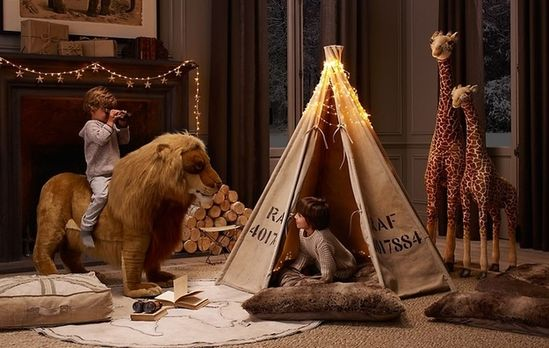 Life-sized stuffed animals (and a teepee).