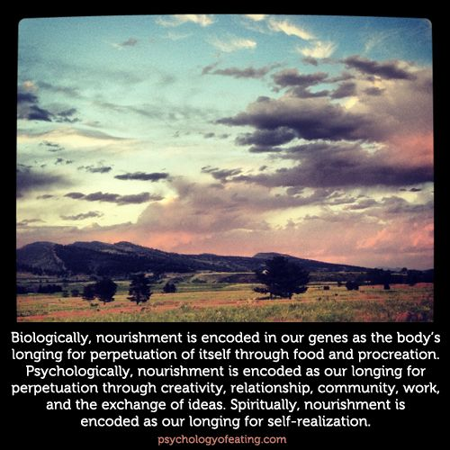 Nourishment is encoded biologically, psychologically, and spiritually  #eatingpsychology #IPE