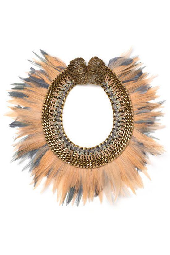 Hampden Clothing - Peach Birds of Paradise Necklace, $598.00 (shop.hampdencloth...)