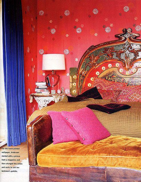 rich bold color bohemian bedroom