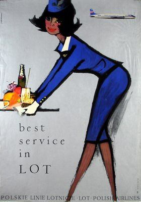 Polish Airlines #travel #poster by Janusz Grabianski, 1966