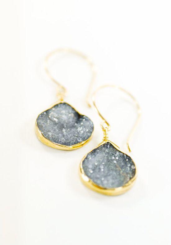 Kainehe earrings  grey druzy gold earrings gold by kealohajewelry