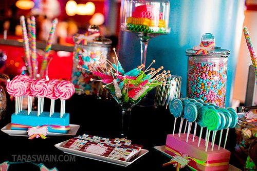 Cute candy buffet, fun idea for a spunky couple.