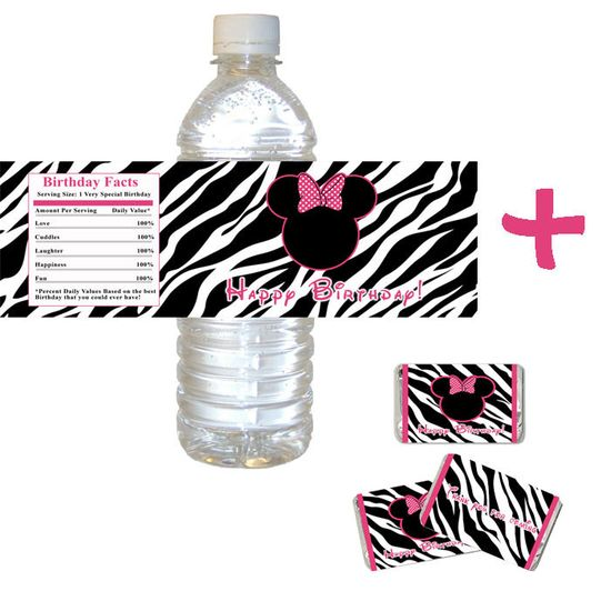 Printable Minnie Mouse Inspired Zebra Bottle Label and Candy Wrapper - Girl Birthday Party Wraps Thank you Happy Birthday. $6.00, via Etsy.