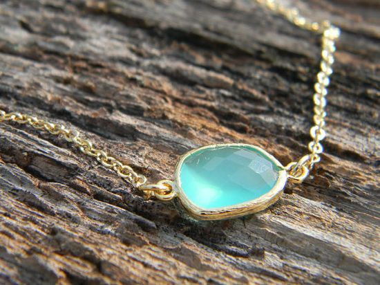 Pacific Opal Necklace in Gold Aqua Jewelry Bride by Greenperidot, $22.50