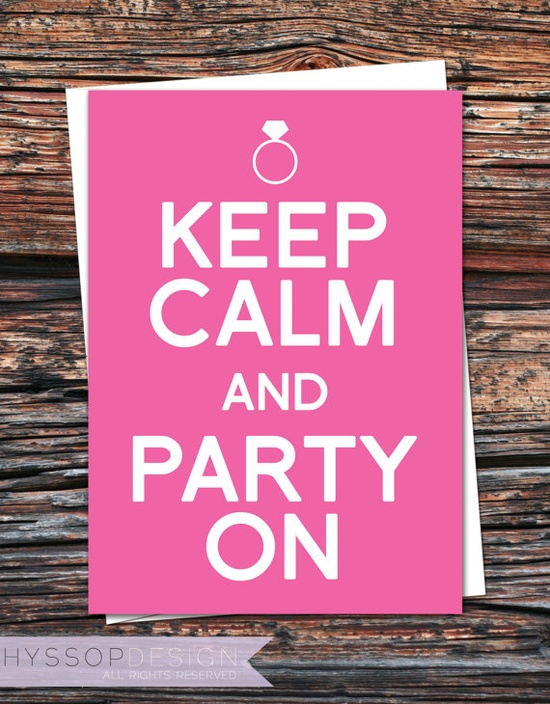 Keep Calm and Party On (Bachelorette Party Invitations)