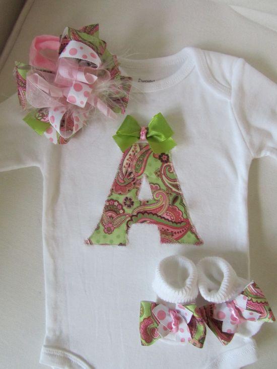 Baby Girl's Monogrammed Onesie Gift Set/ Newborn Baby Going Home Set/ Girl&#