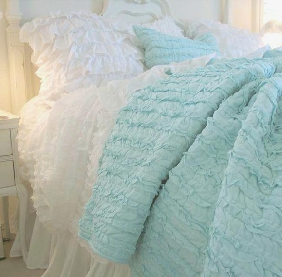 Shabby Chic Aqua Ruffle Bed