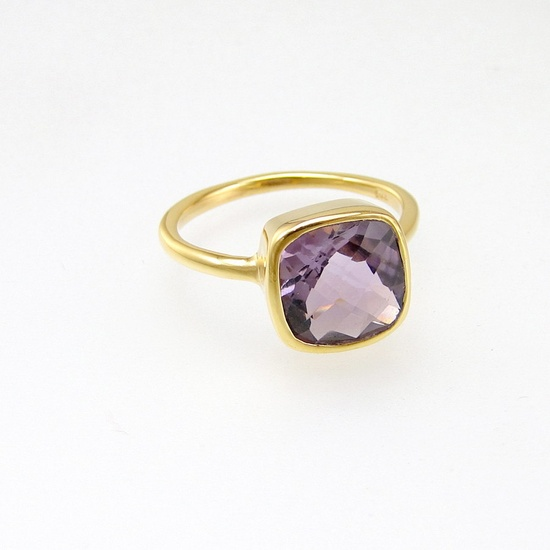 Gold plated stackable bezel rings Handmade with Semi by Voneshna. $49.99, via Etsy.
