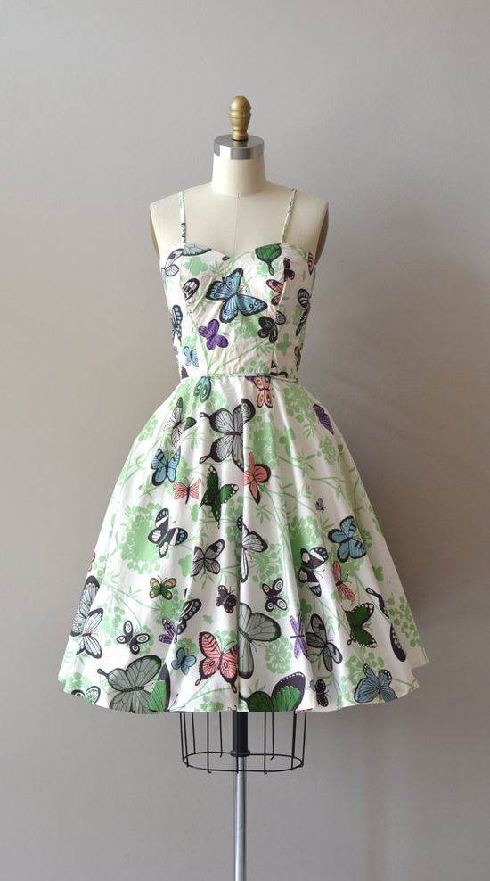 vintage 1950s cotton butterfly dress