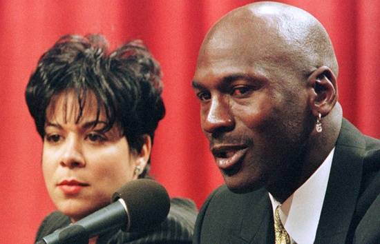 Michael Jordan and wife Juanita -  The basketball great became a legend in his own time playing for the Chicago Bulls. Signs of trouble started to show up on the home court when Jordan and his wife, Juanita, filed for divorce in 2002. They got back together a month later but the 17-year union that produced three children eventually came to an end. The couple 'amicably' negotiated a divorce settlement in 2006 in what has been called the largest celebrity divorce settlement on record. The amount?