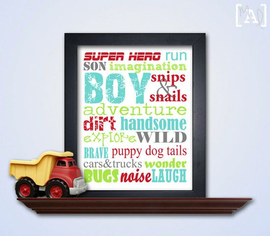 Boy Subway Art Printable - Bedroom wall art - Bedroom Decor - Nursery Decor