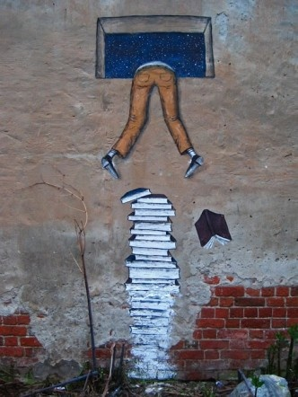 street mural with books