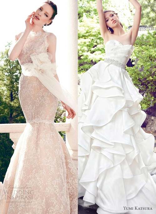 We love these dresses by Yumi Katsura.    From the Spring 2013 Wedding Dresses
