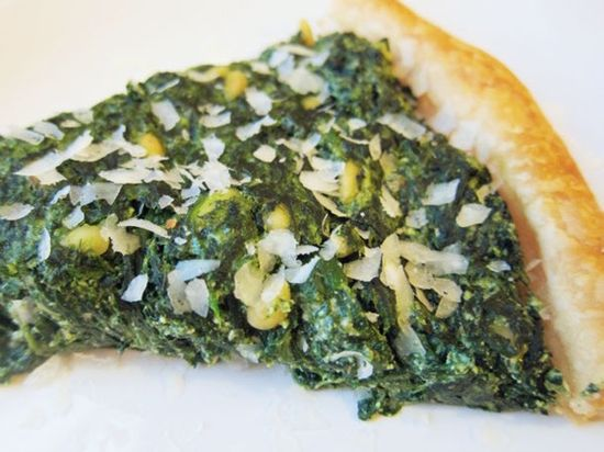 Three-cheese hearty greens and puff pastry tart from Serious Eats