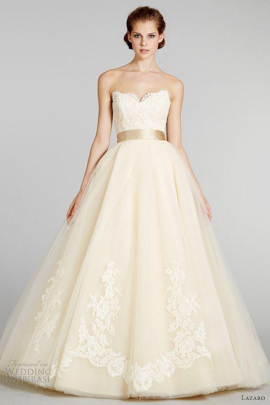lazaro fall 2012 princess champagne wedding dress