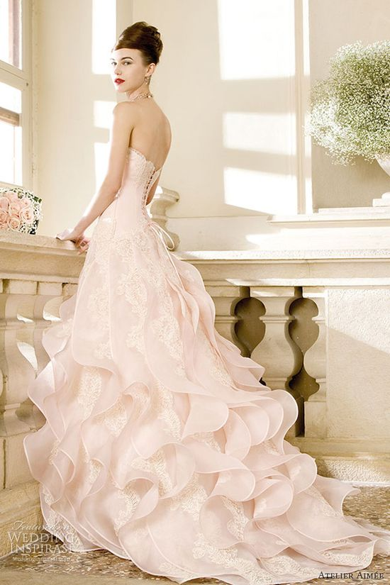 Cherie powder pink double silk organza strapless gownwith lace accents at the ruffles of the skirt. by Atelier Aimee, 2014 Wedding Dress Collection