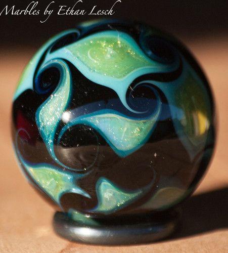 Beautiful Handmade Marble Signed by Ethan Lesch Borosilicate Boro Art