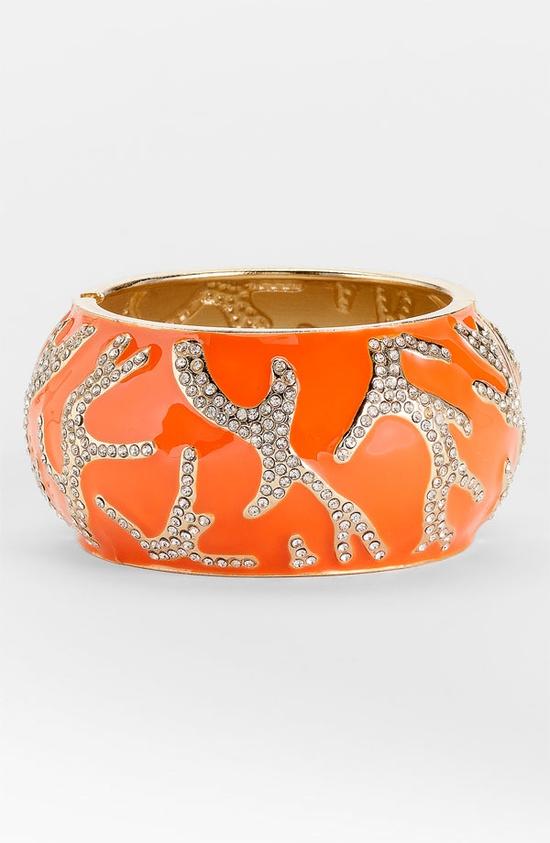 pave coral enamel bangle