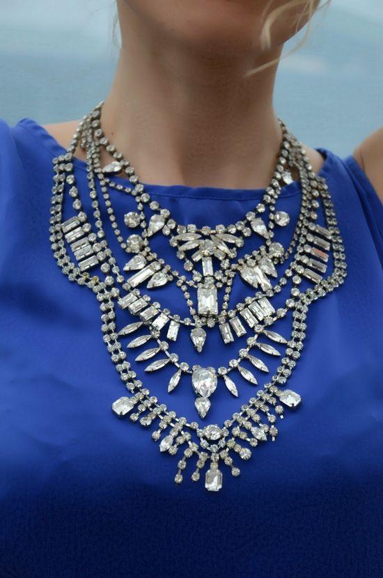 Aphrodite - Swarovski rhinestones statement necklace via Etsy.