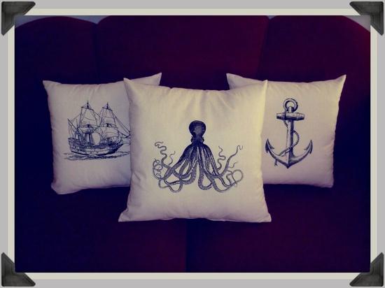 Screenprinted Octopus Cushion Nautical handmade tattoo alternative Wedding. $24.99, via Etsy.