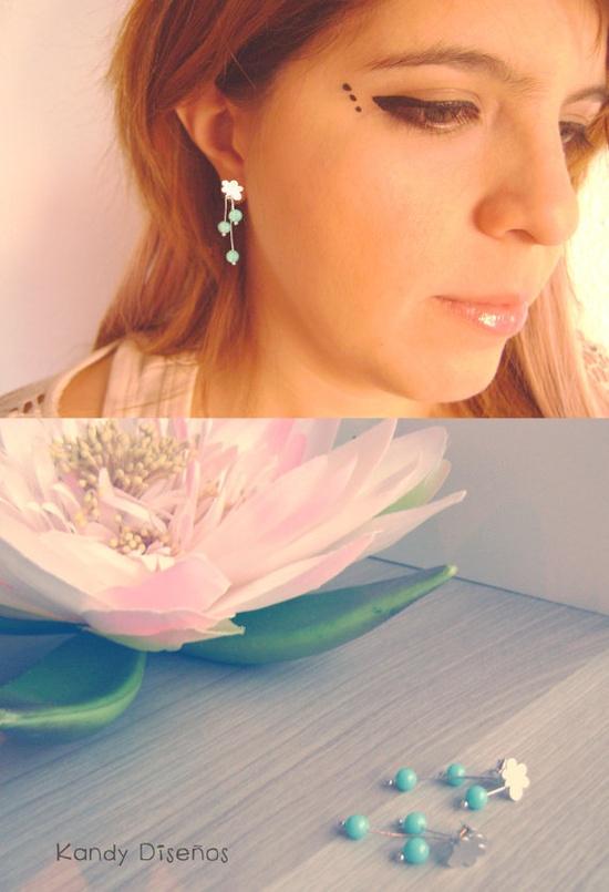 Cloud rain Earrings Turquoise earrings Sterling by KandyDisenos, €20.00