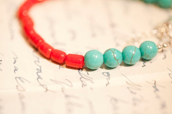 Turquoise & Red Bracelet. Love the combination of these two colors