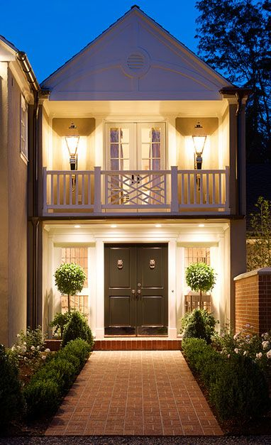Such pretty curb appeal. Beautiful exterior lighting